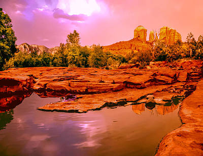 Cathedral Rock Painting - Reflections Of Cathedral Rock by Bob and Nadine Johnston
