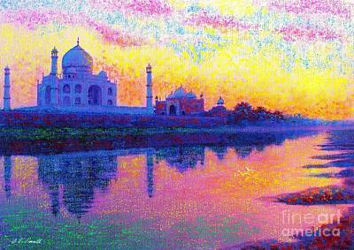 White Marble Painting - Taj Mahal, Reflections Of India by Jane Small