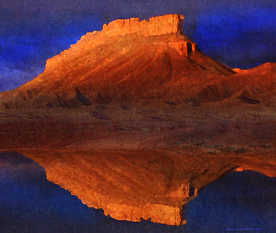 Navaho Painting - Reflections Of Miner Butte by R christopher Vest