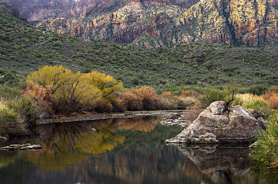 Reflections Of Mountains And Fall Colors Art Print by Dave Dilli