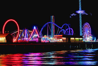 Roller Coaster Photograph - Reflections Of Pleasure Pier by Tom Weisbrook