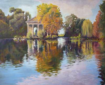 Mystical Landscape Painting - Reflections Of The Past by Sharon Weaver