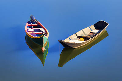 Photograph - Reflections Of Two Canoes by David Letts