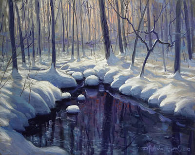 Snowy Brook Painting - Reflections Of Winter by David Henderson