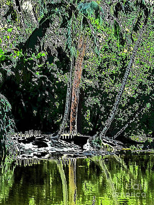 Digital Art - Reflections. Black Green Art by Oksana Semenchenko