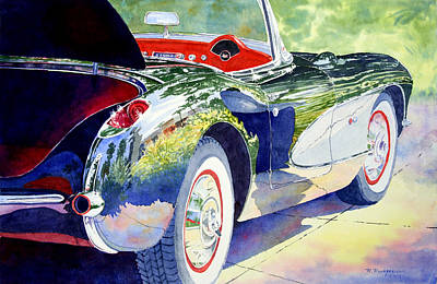 Painting - Reflections On A Corvette by Roger Rockefeller