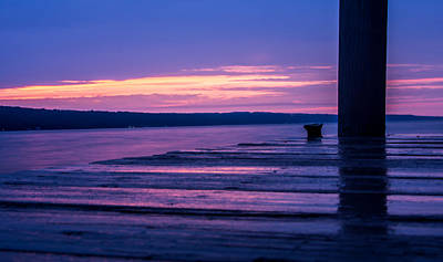 Seneca Lake Photograph - Reflections On A Rain Soaked Dock - Seneca Lake - New York by Photographic Arts And Design Studio