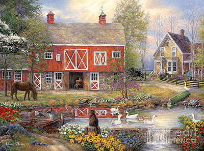 Pond Painting - Reflections On Country Living by Chuck Pinson
