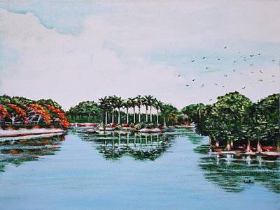 Lal Bagh Painting - Reflections On Lal Bagh Lake by Usha Shantharam