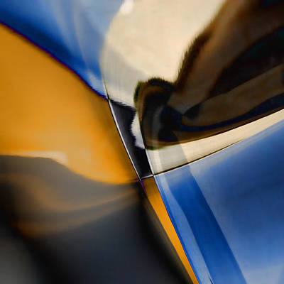 Blue Modern Art Photograph - Reflections On Porsche No. 1 by Carol Leigh