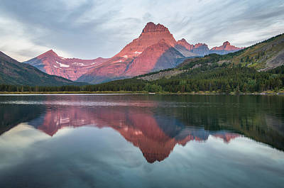 Photograph - Reflections On Swiftcurrent Dawn by Greg Nyquist