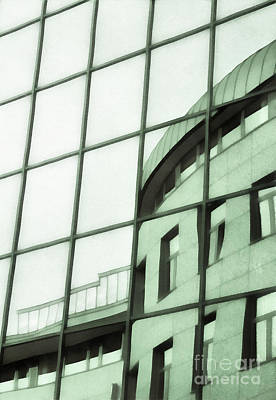 Reflections On The Building Art Print by Odon Czintos