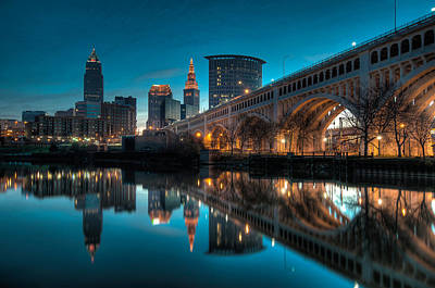 Downtown Photograph - Reflections On The Cuyahoga by At Lands End Photography
