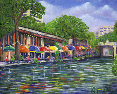 Riverwalk Painting - Reflections On The Riverwalk by Kerri Meehan