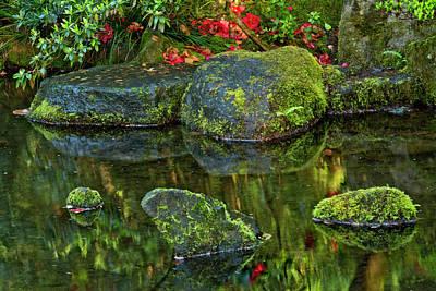 Flower Gardens Photograph - Reflections, Pond, Natural Garden by Michel Hersen