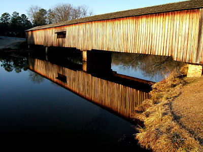 Art Print featuring the photograph Reflections  Watson Mill Bridge by George Bostian