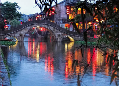 Photograph - Reflections Xitang Evening by Robert Knight