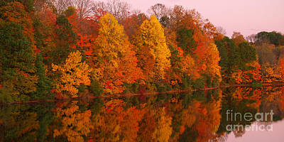 Reflective Lake Nockamixon Pano - Twilight Art Print
