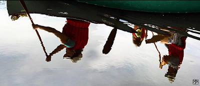 Photograph - Reflective Paddling by John Meader