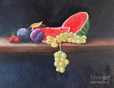 Watermelon Drawing - Refreshing Southern Delight  by Louise Williams