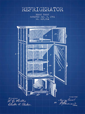 Refrigerator Patent From 1901 - Blueprint Print by Aged Pixel