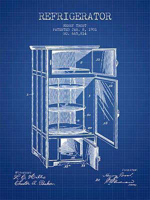 Frozen Digital Art - Refrigerator Patent From 1901 - Blueprint by Aged Pixel