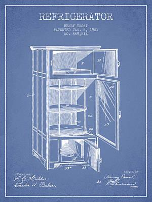 Frozen Digital Art - Refrigerator Patent From 1901 - Light Blue by Aged Pixel