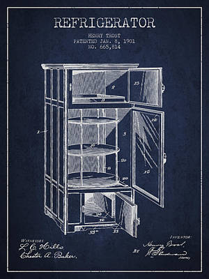 Refrigerator Patent From 1901 - Navy Blue Print by Aged Pixel