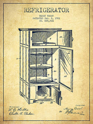 Frozen Digital Art - Refrigerator Patent From 1901 - Vintage by Aged Pixel