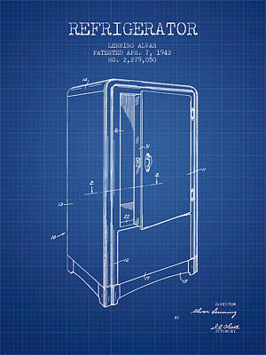 Refrigerator Patent From 1942 - Blueprint Print by Aged Pixel