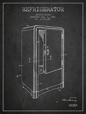Refrigerator Patent From 1942 - Dark Print by Aged Pixel