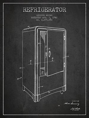 Frozen Digital Art - Refrigerator Patent From 1942 - Dark by Aged Pixel