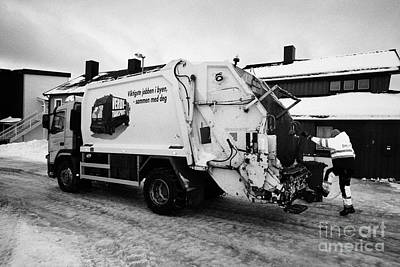 refuse collection during winter Honningsvag finnmark norway europe Art Print by Joe Fox