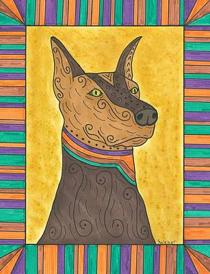Art Print featuring the painting Regal Doberman by Susie Weber
