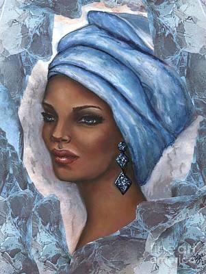 Art Print featuring the mixed media Regal Lady In Blue by Alga Washington