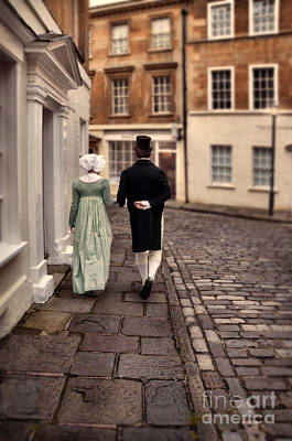 Photograph - Regency Couple Walking In Town by Jill Battaglia