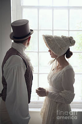 Empire Waist Photograph - Regency Period Couple At The Window by Lee Avison