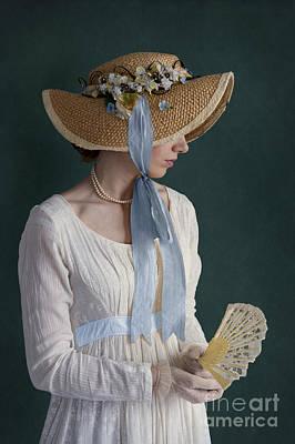 Regency Era Wall Art - Photograph - Regency Period Woman With Empire Line Dress And Straw Bonnet Hol by Lee Avison