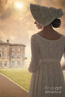Empire Waist Photograph - Regency Period Woman With Mansion In Background by Lee Avison
