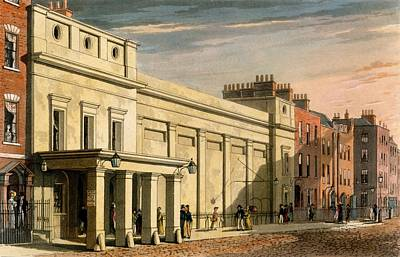 Building Exterior Drawing - Regency Theatre, London, 1826 by Daniel Havell