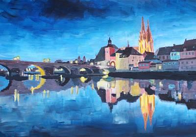 Regensburg Bavaria At Dawn Art Print