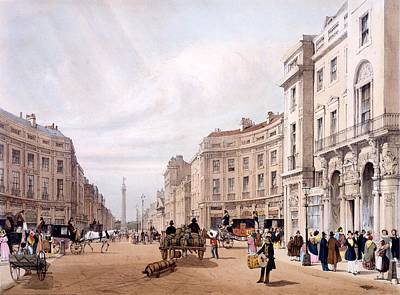 Everyday Life Drawing - Regent Street, Looking Towards The Duke by Thomas Shotter Boys
