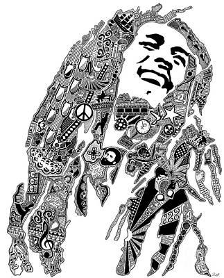 Sharpie Art Drawing - Reggae Music by The Art Of Rido