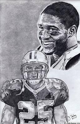 New Orleans Saints Drawings Drawing - Reggie Bush by Jonathan Tooley