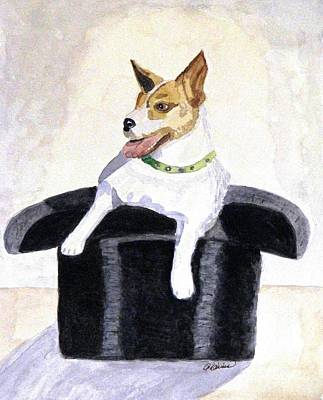 Art Print featuring the painting Reggie In A Top Hat  by Angela Davies