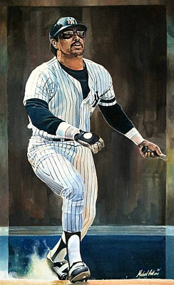 Baseball Drawing - Reggie Jackson New York Yankees by Michael  Pattison