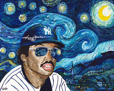 Reggie Painting - Reggie Jackson Starry Night by Jeff Gomez