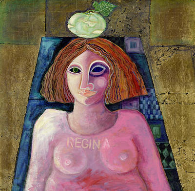 Nude Portraits Photograph - Regina, 2004 Acrylic & Metal Leaf On Canvas by Laila Shawa