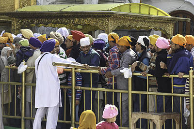 Regulating The Queue Of Devotees Inside The Golden Temple In Amritsar Art Print by Ashish Agarwal