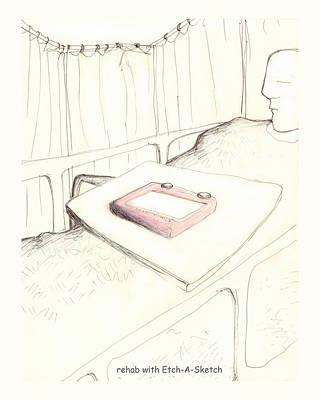 rehab with Etch-A-Sketch Art Print by Alan McCormick